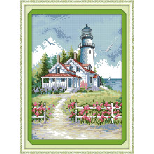 everlasting love lighthouse 2 chinese cross stitch kits ecological cotton stamped 11ct 14ct diy christmas decorations for home - Christmas Lighthouse Decorations