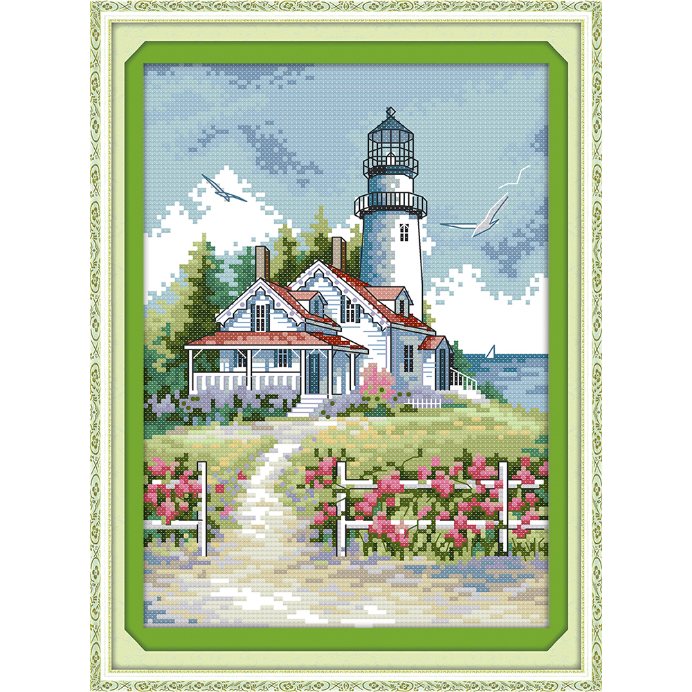 Everlasting love Lighthouse (2) Chinese cross stitch kits Ecological cotton stamped 11CT 14CT DIY Christmas decorations for home