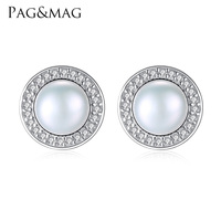PAG MAG Classic Round Shape Micro Paved Cubic Zirconia With 7 7 5mm Natural Pearl Stud