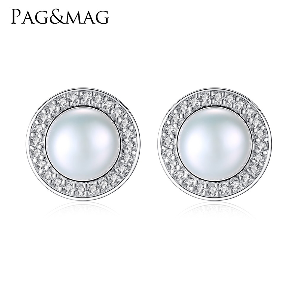 PAG&MAG Classic Round Freshwater High Bright 7-7.5mm Natural Pearl Stud Earrings for Women 925 Sterling Silver Jewelry Hot001