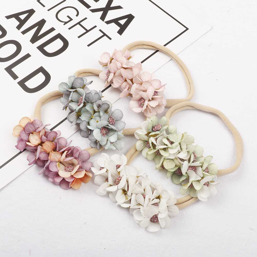 AHB Small Flower Nylon Headband for Baby Girls Fake Hairbows Elastic Bands Newborn Hairbands Princess Headwear