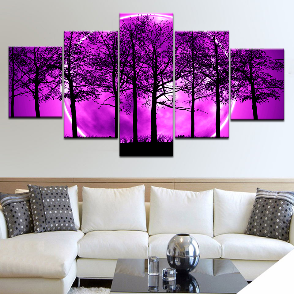 Wall Art Pictures Home Decor Poster Frame 5 Panel Purple Moon Night Psychedelic Forest Modern Living Room HD Printed Painting in Painting Calligraphy from Home Garden