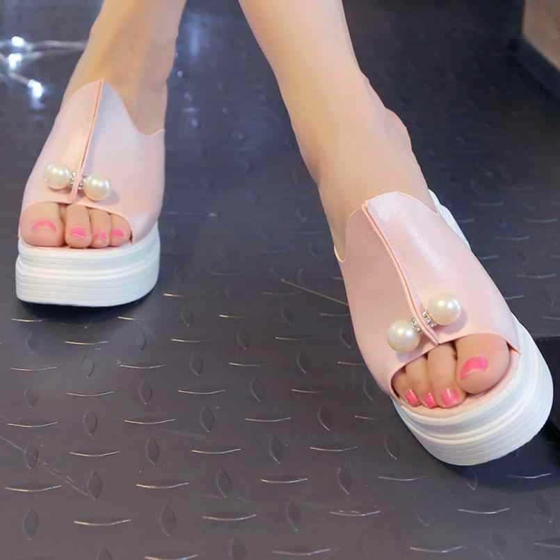 c73a92eedc6f ... YOUYEDIAN Women Summer Sandals Thick Heel Platform Wedges Sandals Sexy  Beading Slippers Sandalias Slides White Black ...