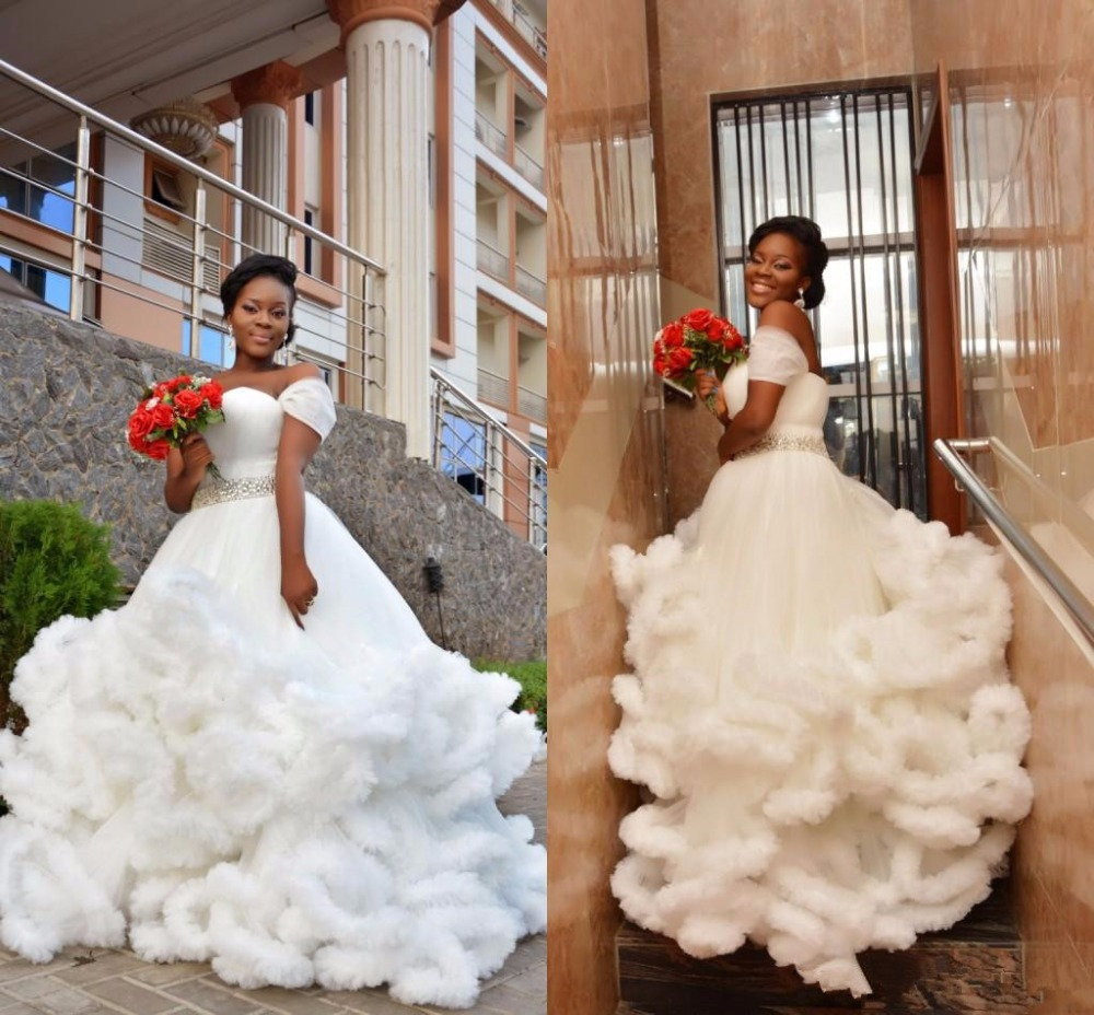 Wedding Gowns With Cap Sleeves: Cap Sleeves 2019 Wedding Dresses African Black Gilrs