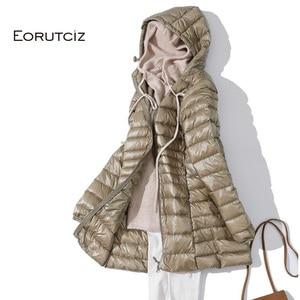 Image 3 - EORUTCIZ Winter Long Down Coat Women Plus Size 7XL Ultra Light Warm Hoodie Jacket Vintage Black Autumn Duck Down Coat LM171
