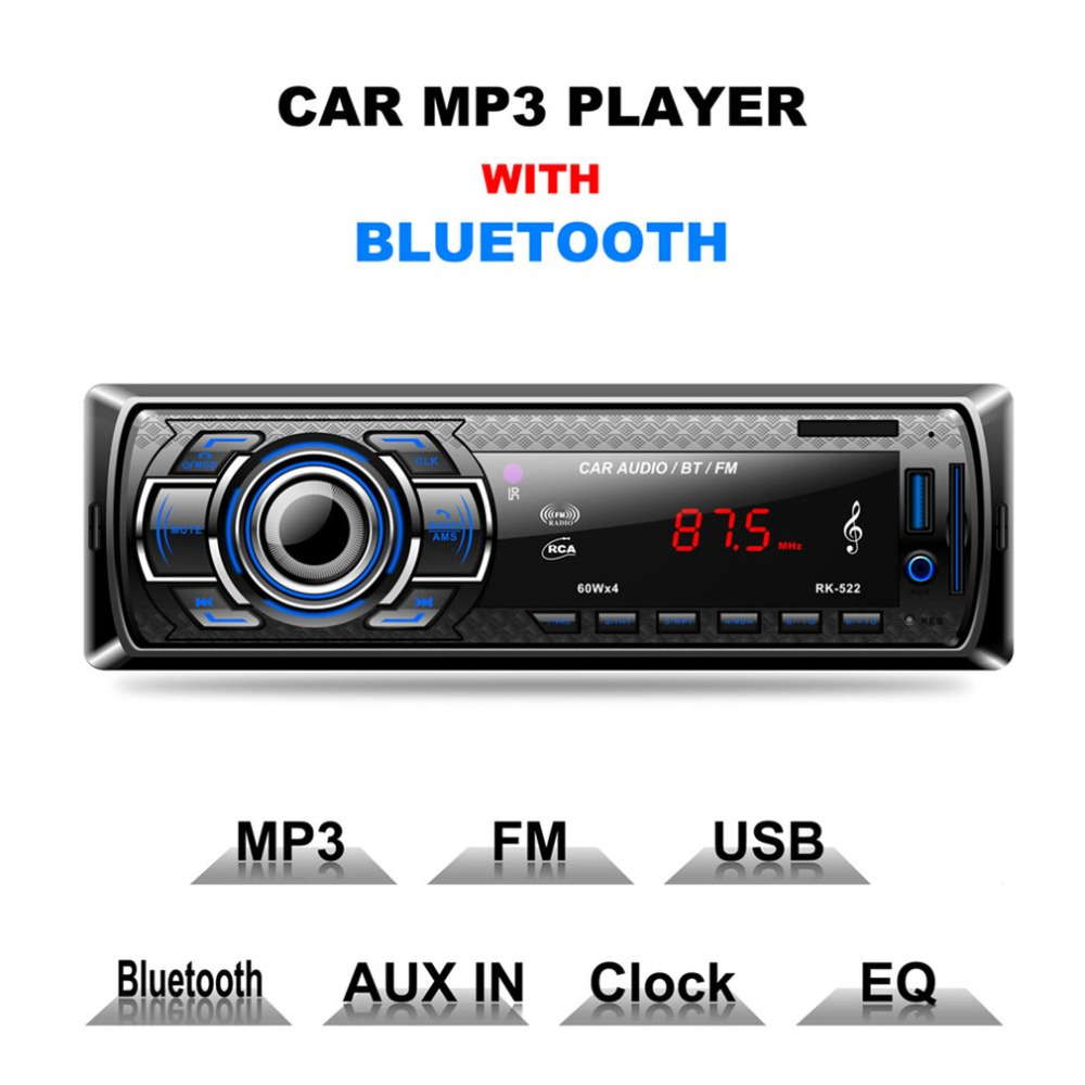 New Multifunction Styling Car MP3 Player Car DVD SD Card Reader USB With Bluetooth Panel FM Tuner Aux In Remote Control Hot Sell