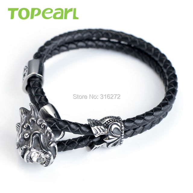 Topearl Jewelry Dragon Head Braided Black Genuine Leather Double Strand Bracelet Stainless Steel MEB22