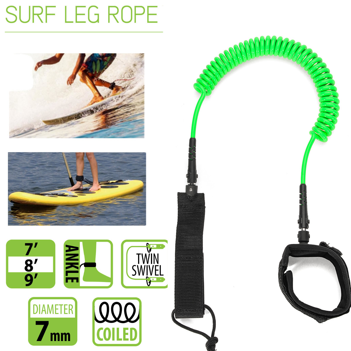 10ft 7mm SUP Cheville Laisse Surf Enroulé Stand UP Paddle Board TPU paddle board corde surf accessoire