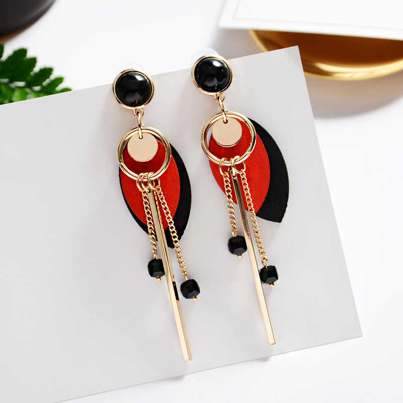 Korean temperament long pendant wood earrings wild simulation leaves fringed ear jewelry for the best gift for girls