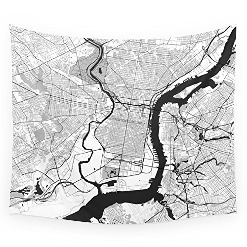 Philadelphia Map Gray Wall Tapestry Wedding Party Gift Bedspread Beach Towel Yoga Picnic Mat