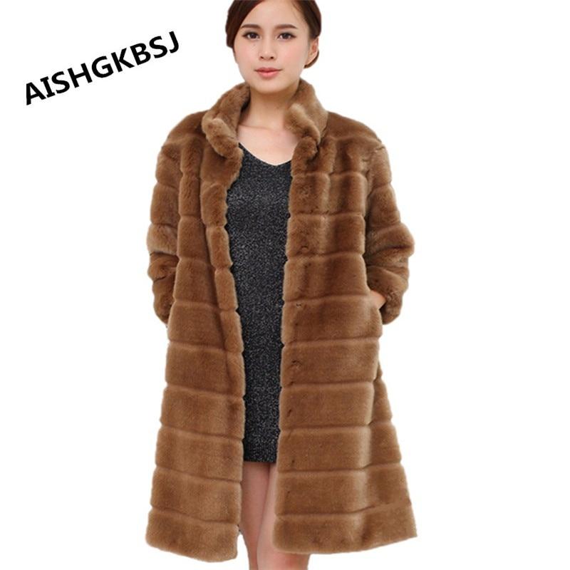 AISHGWBSJ 2019 New Plus Size Winter Women Long Fur Jacket Warm Faux Fur Coat Elegant Three Quarter Sleeve Outerwear S 7XL ZP748