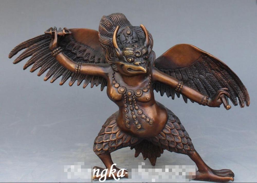 "9/"" Tibet Exquisitely Carved Brass Winged Eagle Lei Zhenzi Statue"