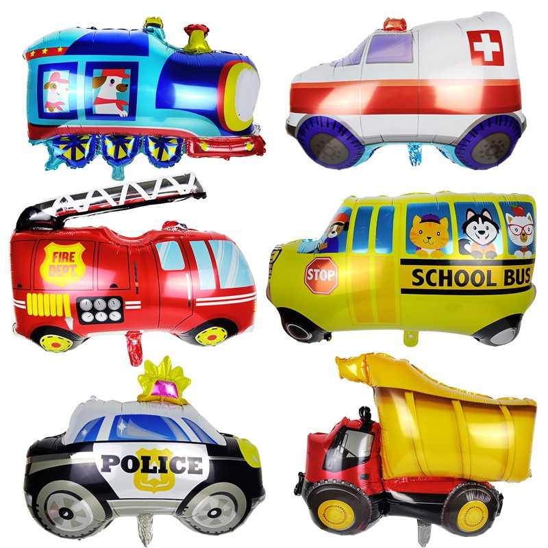 New DIY cartoon car balloons fire engine train foil balloon ambulance globos gifts for kids birthday decoration