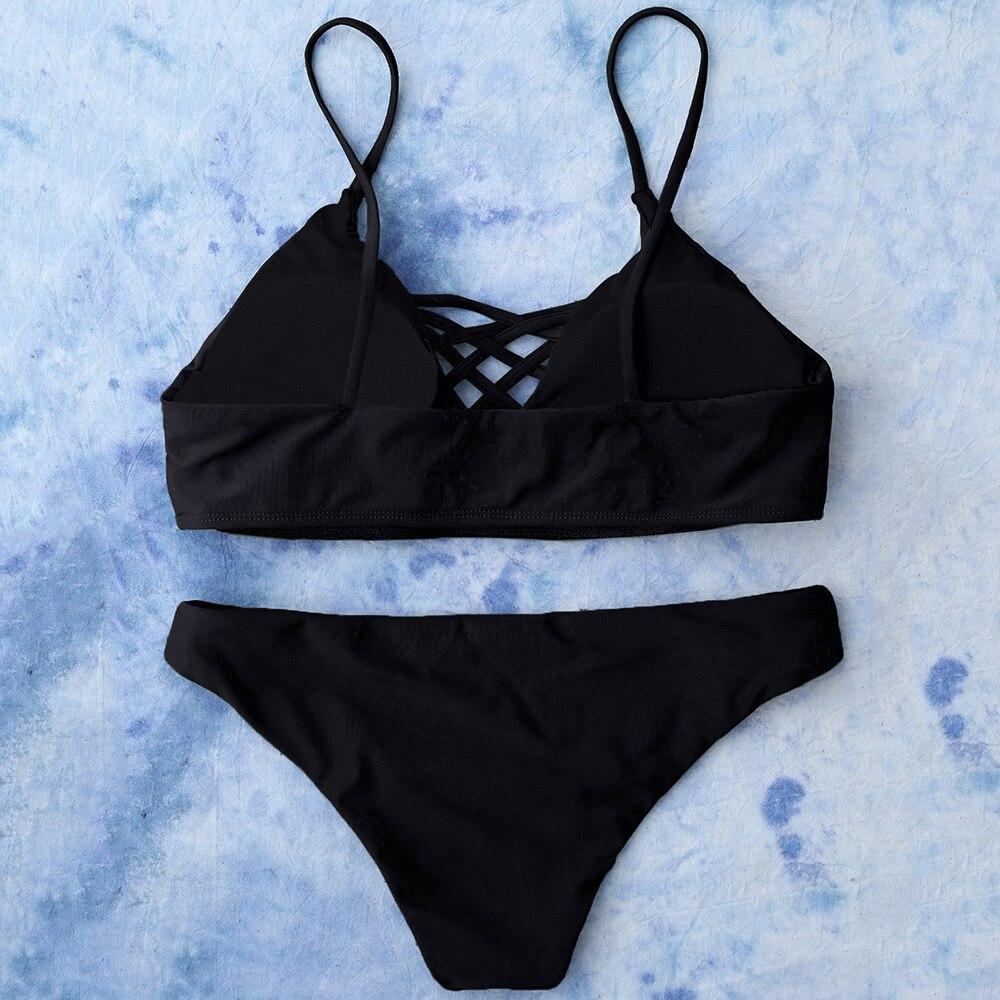 f1be66da38 ZAFUL 2018 Push Up Swimwear Brazilian Style Bikinis Sets Women Lace Up  Bikini Sexy Bandage Solid Color Beachwear Bathing Suits-in Bikinis Set from  Sports ...