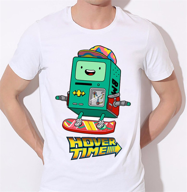 Hover Time Heat Transfer T Shirt Cartoon Skateboard Robot Design Creative Android Funny