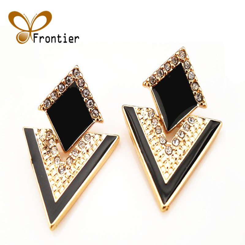 Black Stud Earrings For Women Cute Gold Earings Fashion Jewelry 2017 Dropshipping Punk Gothic Earing Studs