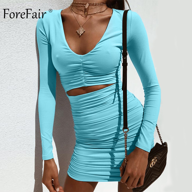 Forefair Women Ruched Long Sleeve Mini Sexy Club Dress White Blue Black  Hollow Out Strapless Deep V Neck Party Dress Winter -in Dresses from Women s  ... f8ad285daba4
