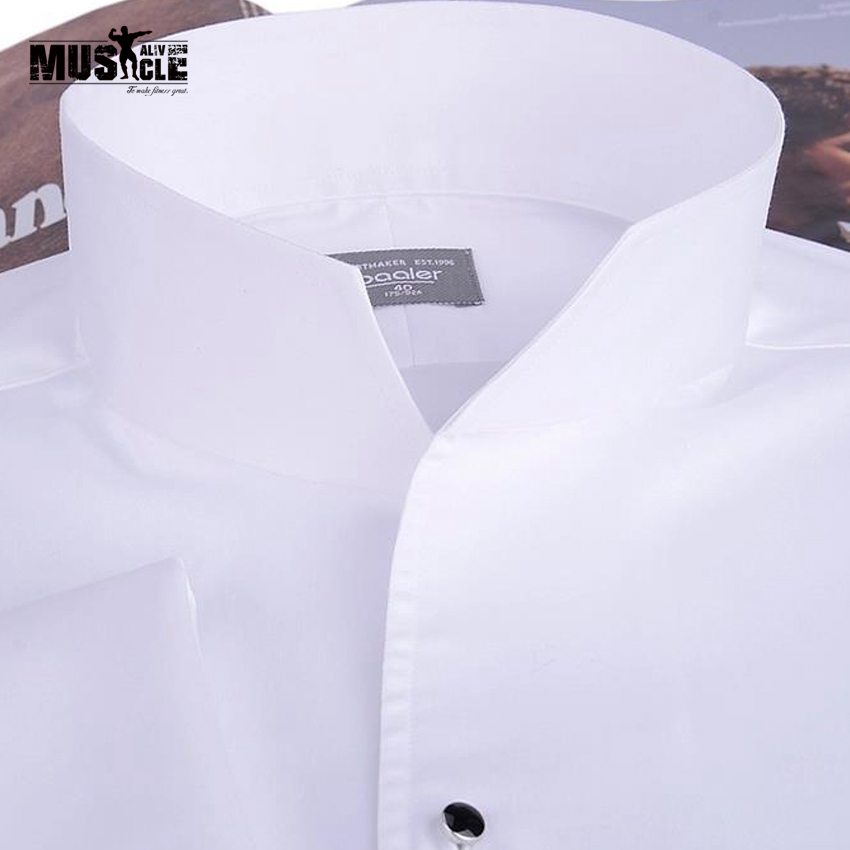Mode homme chemise de smoking, boutons de manchette français banquet, chemise à manches longues classique col montant 100% coton haute qualité garantie