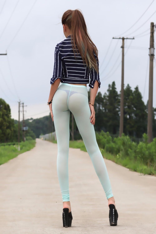 Women Lady Sexy Transparent Long Capri Pants Tight Leggings Slim Ultra Thin Stretchy Perspective