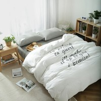 High Quailty Washed Cotton Simple Style Word Print Bedding Set King Queen Size Bedclothes Duvet Cover
