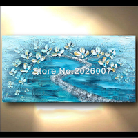 Hand Painted Landscape Abstract Palette Knife Gold Flower Fantasy Color Oil Painting Canvas Home Wall Living