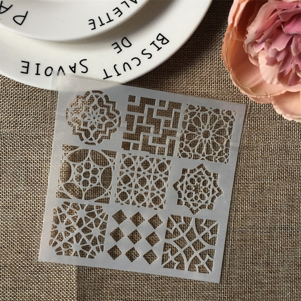 Hot 13cm Nine Grid Design DIY Layering Stencils Wall Painting Scrapbook Coloring Embossing Album Decorative Card Template