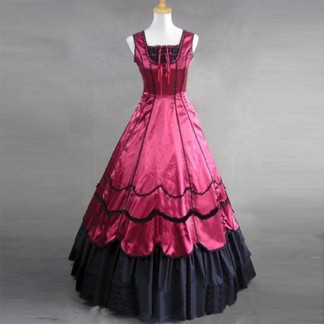 2018 Summer Princess Party Dress Costume Medieval Retro Red Gothic Victorian historical Peroid Ball Gowns