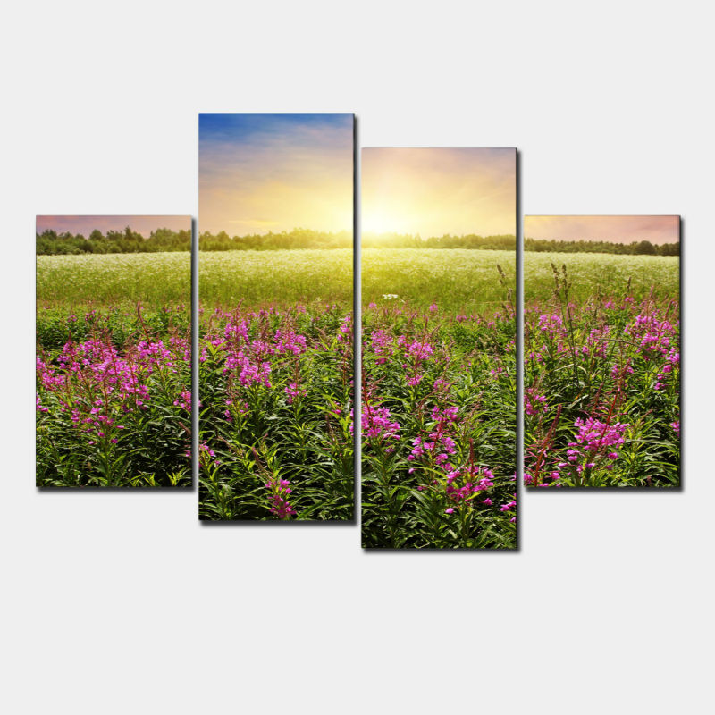 Painting Wall Art Home Decor 4 Panel Beautiful Flower Field In ...