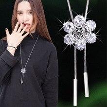 Fashion Long Necklace Women Classic New Jewelry Party Shinning Zircon Flower Tassel Sweater Necklaces & Pendants Bijoux