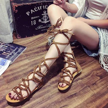 New Summer Girls Cross Strap Sandals High Gladiator Sandals Tall Sandals For Women Boot Sandals Shoes 3 Colors PA876627(China)