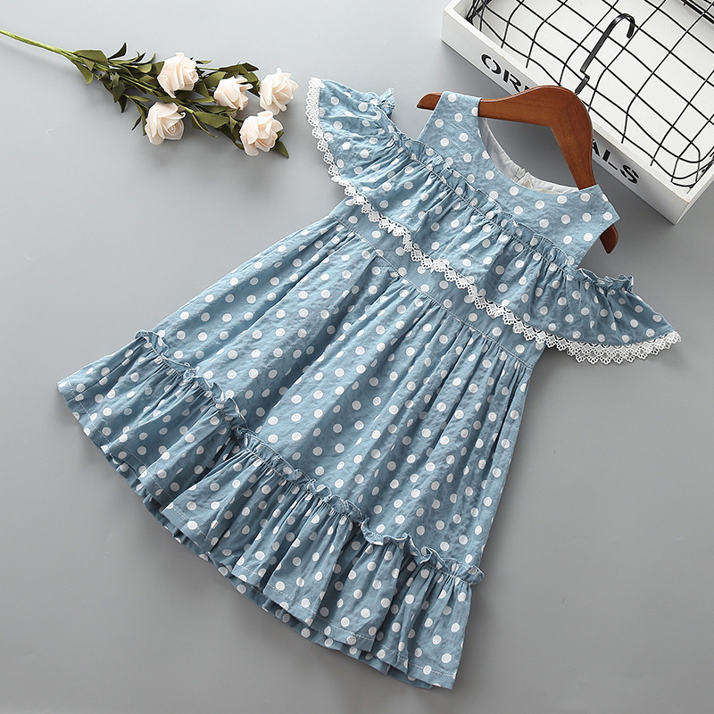 4-10 Years High Quality Girl Dress 2019 New Summer Fashion Lace Dot Solid Ruched Kid Children Girl Clothing Party Princess Dress