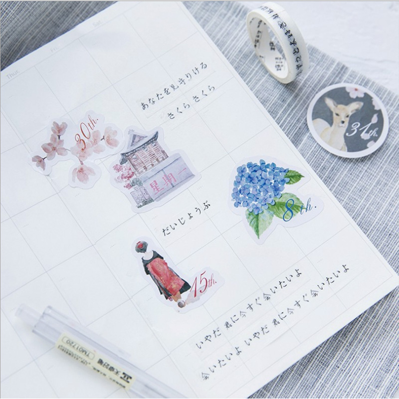 45 pcs pack Japanese Style paper sticker DIY diary album decoration stickers scrapbooking planner label Scrapbook stickers in Stickers from Home Garden