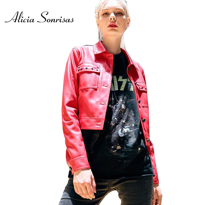 New Autumn Rivets   Leather   Jacket Female New Korean Short Washed PU Street Bikers Coat Single Breasted Buttons AS1046