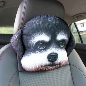 Image 4 - CHIZIYO Newest 2020 3D Printed Schnauzer Teddy Dog Face Car Headrest Neck Rest Auto Neck Pillow Without Filler