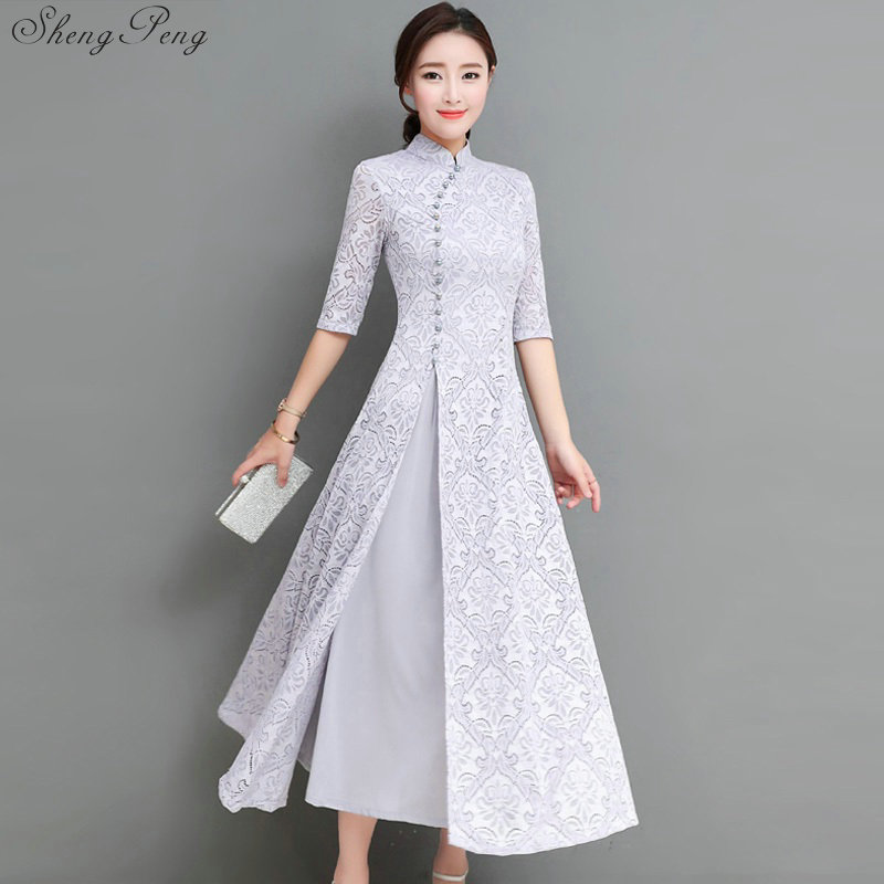 2018 summer women elegant retro chinese traditional dress silk cotton cheongsam female lady wedding casual design