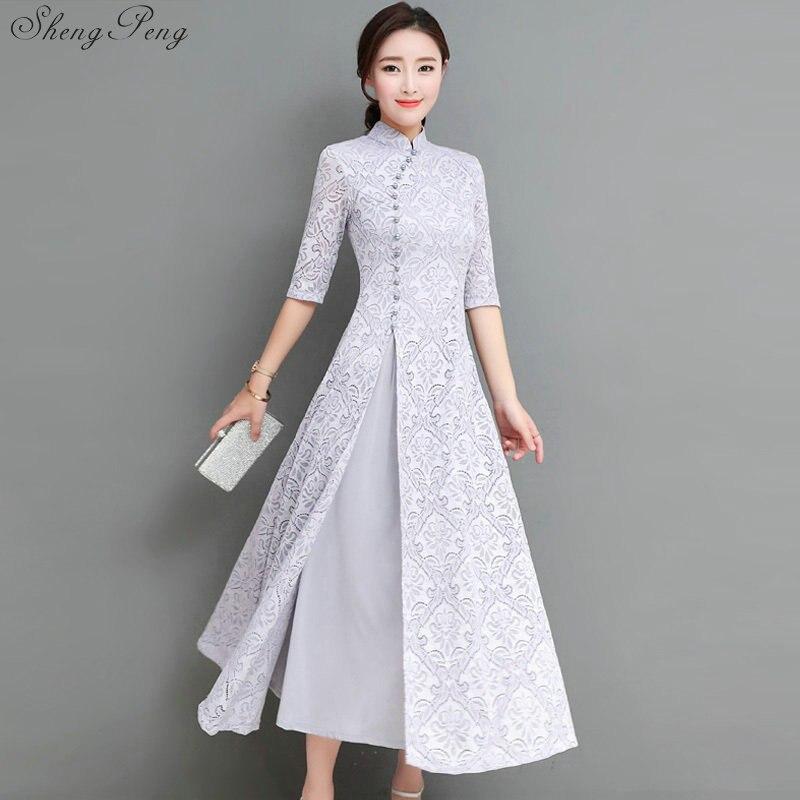 the latest 50ba0 5e9db US $34.8 40% di SCONTO|2018 donne di estate elegante retro tradizionale  cinese di seta del vestito da cerimonia nuziale della signora del cotone ...