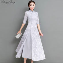85cc9e21a1 2018 verano mujeres elegante retro chino tradicional vestido de seda  cheongsam algodón Mujer señora boda diseño casual qipao CC5.