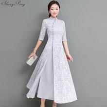 f42a2a14086 2018 summer women elegant retro chinese traditional dress silk cotton  cheongsam female lady wedding casual design