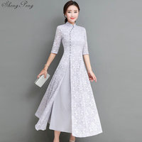 2018 summer women elegant retro chinese traditional dress silk cotton cheongsam female lady wedding casual design qipao CC553