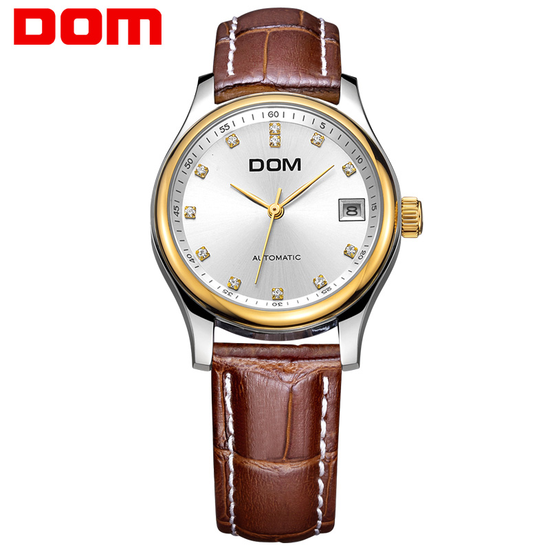 woman watch DOM  mechanical top brand luxury  waterproof  stainless steel  women watches crystal  hombre G95GL7M dom men watch top brand luxury waterproof mechanical watches stainless steel sapphire crystal automatic date reloj hombre m 8040