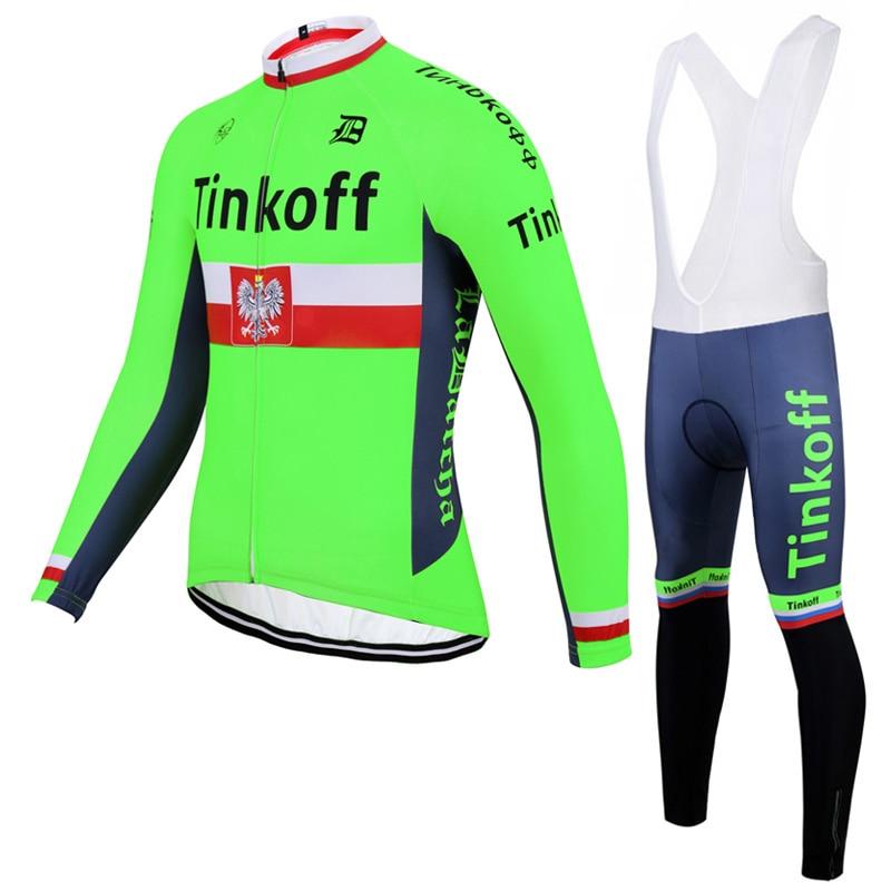ФОТО 2017 Flour Green Saxobank Tinkoff Winter Bicycle Wear Thermal Fleece Cycling set Long Sleeve Ropa Ciclismo Cycling Jersey set