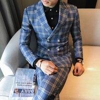 3 piece tweed suit men's plaid suit jacket 3XL 4XL khaki gray blue groom wedding dress suit men's self cultivation