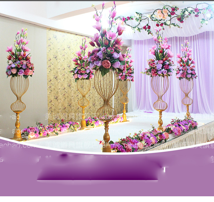 Golden Wedding Centerpieces.Us 798 36 10pcs 150 Cm Tall Golden Wedding Centerpieces Vase Stage Decorative Columns Stands Vase With Flowers In Vases From Home Garden On