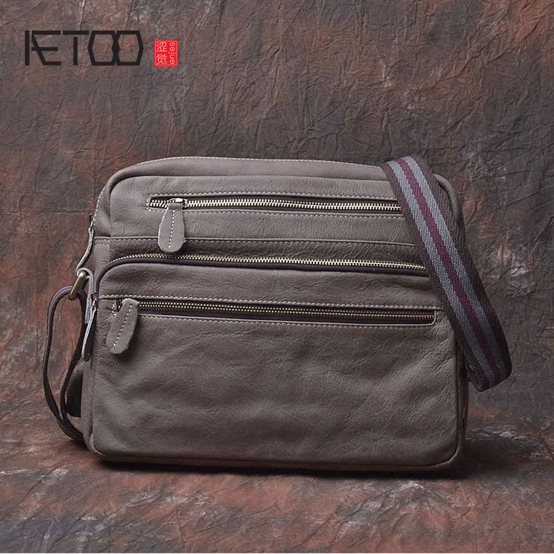 AETOO First layer of frosted leather men's bag men's shoulder diagonal cross section square package business briefcase qiaobao women general 100% leather handbags tide europe fashion first layer of cowhide women bag hand diagonal cross package