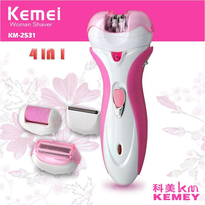 <font><b>Kemei</b></font> <font><b>4</b></font> <font><b>In</b></font> <font><b>1</b></font> <font><b>Lady</b></font> Shaver Wool Device Knife <font><b>Electric</b></font> <font><b>Epilator</b></font> Personal Care Full Body Hair Removal Machine Foot CareKM-2531