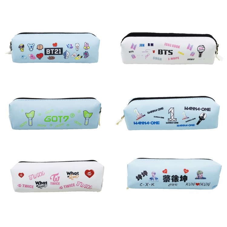 mykpop twice Wanna One Bt21 Got7 Pen Bag Storage Case Pu Stationery Items Kpop Collection Sa18081908 Handsome Appearance Objective