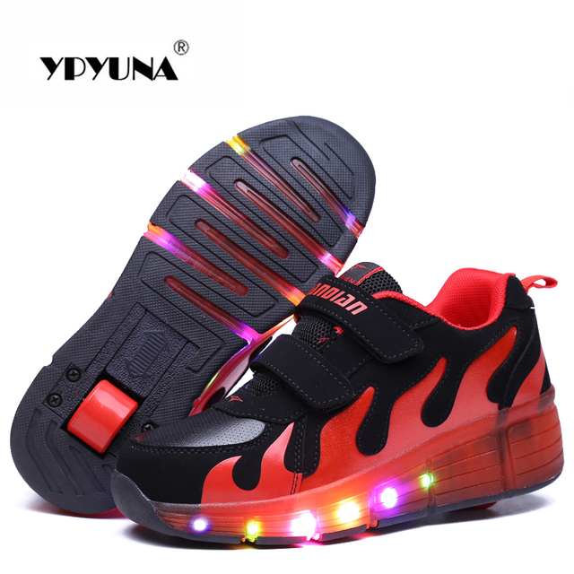Size 28-37//  2016 light Up Simulation Glowing Roller Skate shoe led children's Kids Sneakers With Girls&Boys With One Wheels