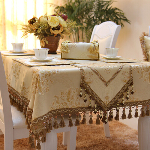 Amazing Imitated Silk Fabric Golden Jacquard Tablecloth Yellow · Classic Table Linen Sets ... : christmas table linen set - pezcame.com