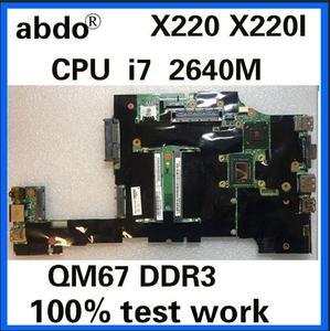 Abdo CPU i7 2620M X220 motherboard for X220 X220I notebook motherboard FRU 04W0688 04W3386 04W1834 QM67 DDR3 100% test work