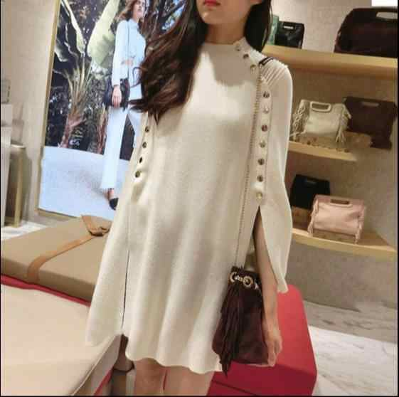 2018 autumn winter fashion white Runway black ponchos and capes loose pullovers long knitted wool sweater women christmas RQ303
